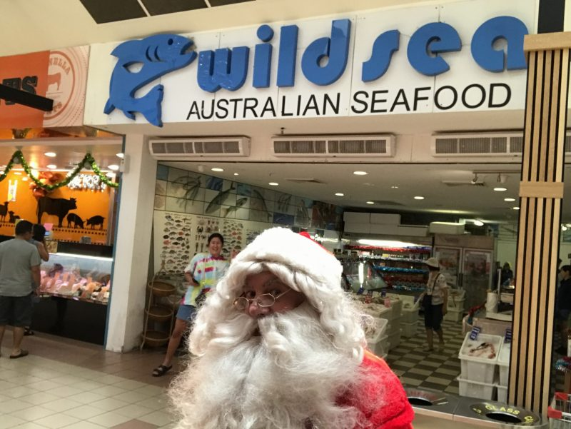 Santa enjoys Seafood in Summer