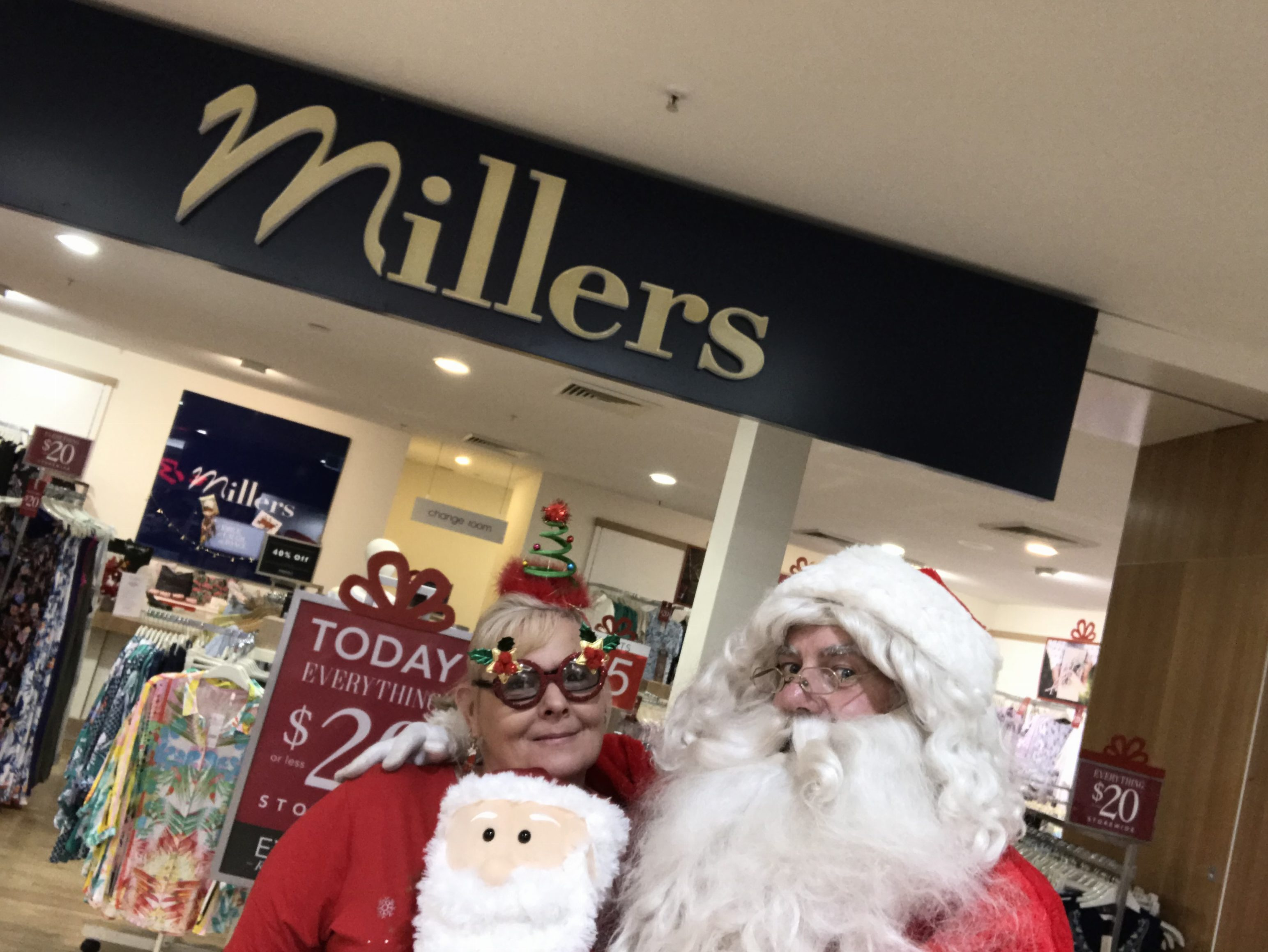 Santa enjoys meeting the staff at Millers