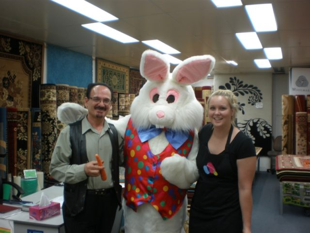 Easter Bunny with the owner of the Centro Dianella Rug Shop
